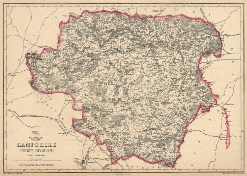 Associate Product HAMPSHIRE NORTH. Winchester Basingstoke. Exclave. Railways. WELLER 1863 map