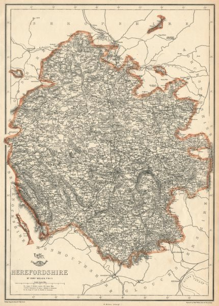 Associate Product HEREFORDSHIRE. Antique county map. Showing exclaves & railways. WELLER 1863