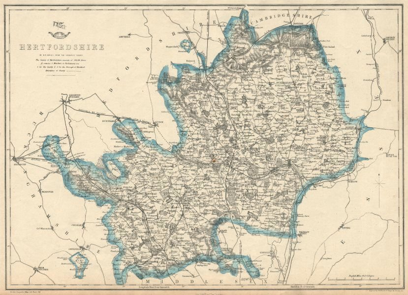 Associate Product HERTFORDSHIRE antique county map. Shows 2 exclaves. Railways.BR DAVIES 1863