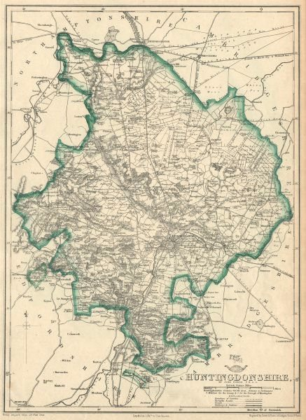 Associate Product HUNTINGDONSHIRE county map. Shows 2 exclaves. Railways.DOWER/BR DAVIES 1863