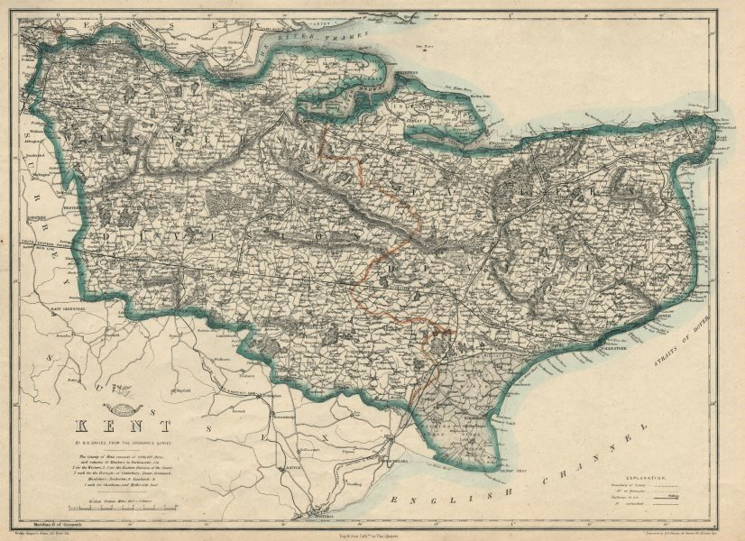 Associate Product KENT. County map. Downs. Railways in use/under construction. BR DAVIES 1863
