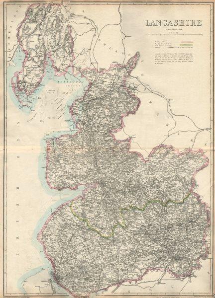 Associate Product LANCASHIRE. Large antique county map. Railways. WELLER. Dispatch atlas 1863