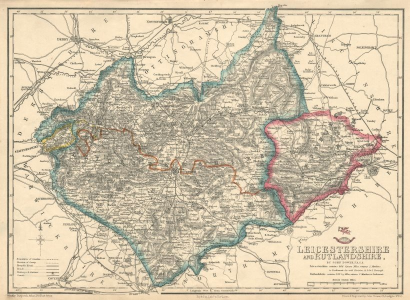 Associate Product EAST MIDLANDS. Leicestershire & Rutlandshire. Railways Enclaves. DOWER 1863 map