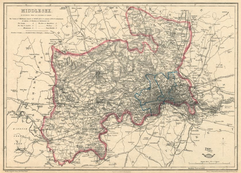 Associate Product MIDDLESEX & LONDON PARISHES. Antique county map. Railways. BR DAVIES 1863