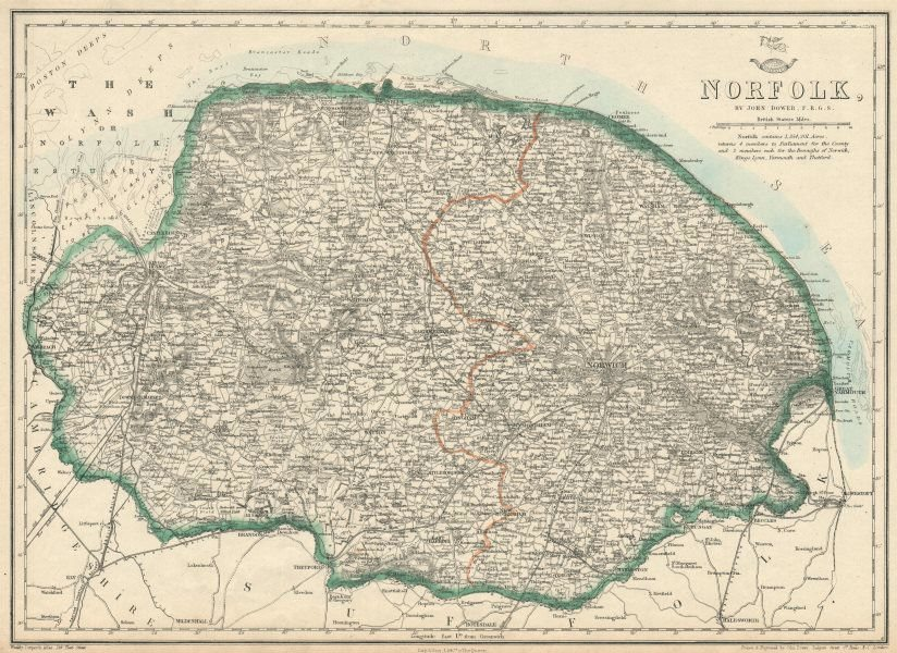 Associate Product NORFOLK. County. Shows extensive proposed Wash land reclamation. DOWER 1863 map