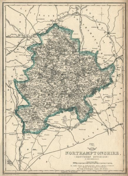 NORTHAMPTONSHIRE SOUTH. Daventry Towcester. Railways. DOWER. Dispatch 1863 map