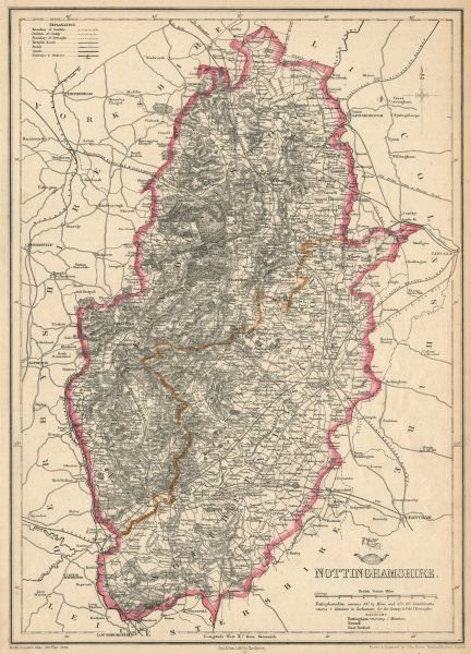 NOTTINGHAMSHIRE. Antique county map. Railways Dukeries. DOWER 1863 old