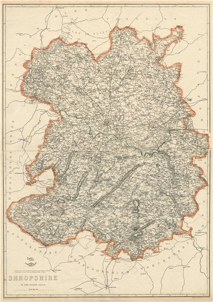 Associate Product SHROPSHIRE Large county map. Railways Wenlock Edge Stiperstones.WELLER 1863