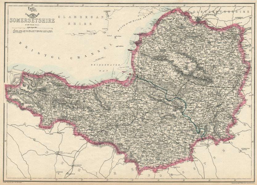 SOMERSETSHIRE. Antique county map. Railways. Mendips. Exmoor. WELLER 1863