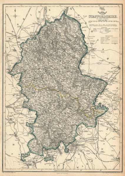 Associate Product STAFFORDSHIRE. Antique county map. Showing railways & exclave. DOWER 1863