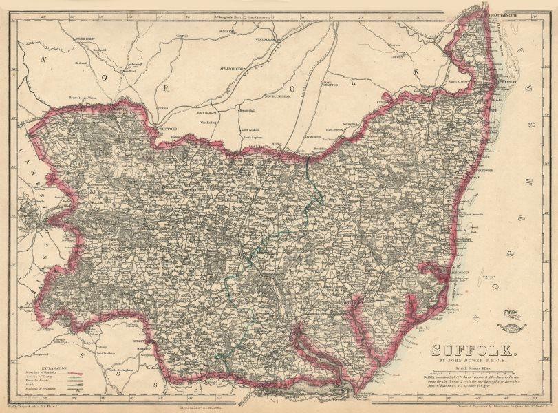 Associate Product SUFFOLK. Antique county map. Railways. Ipswich Bury St Edmunds. DOWER 1863
