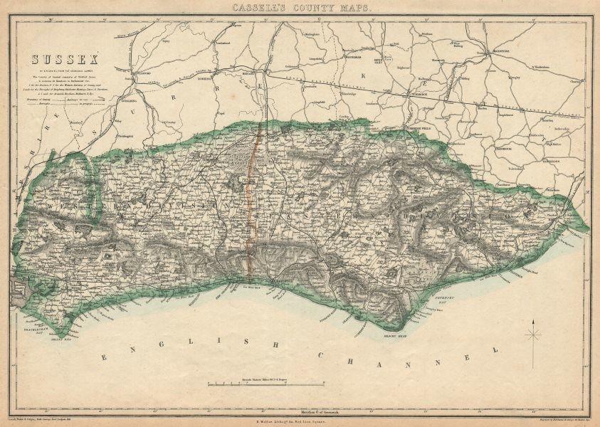 Associate Product SUSSEX. Chichester Rye Brighton Horsham. County map.Railways.BR DAVIES 1863