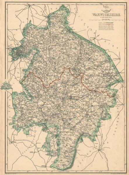 Associate Product WARWICKSHIRE. Birmingham. County map showing excave & railways. WELLER 1863