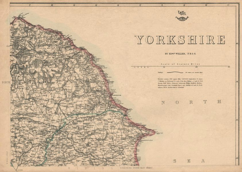 Associate Product YORKSHIRE NORTH EAST COAST. Bridlington Whitby Scarborough. WELLER 1863 map