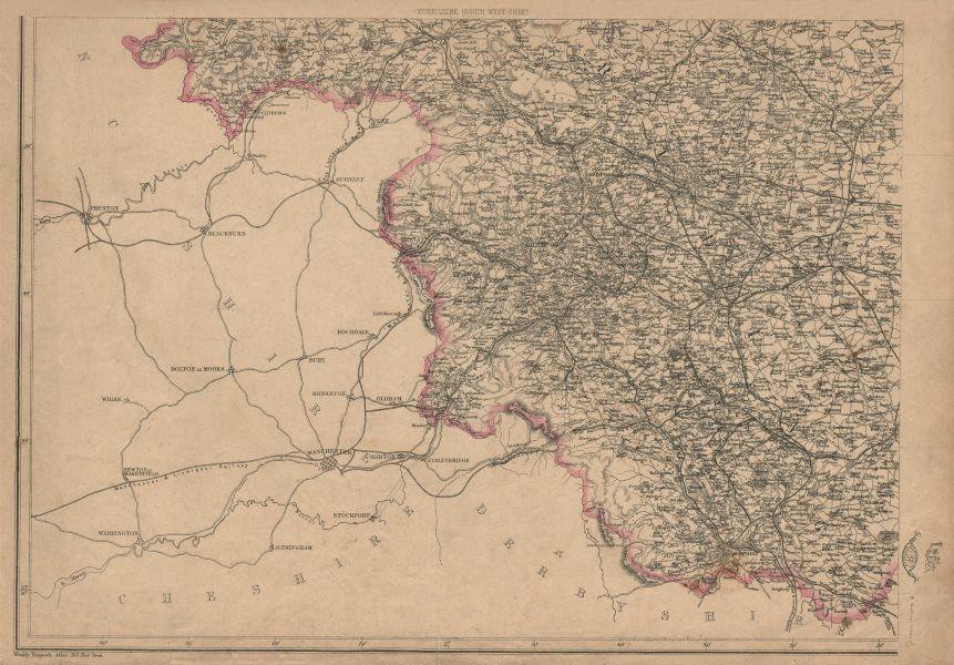 Associate Product YORKSHIRE SOUTH WEST. Halifax Bradford Leeds Sheffield. WELLER 1863 old map