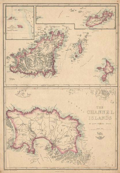 Associate Product THE CHANNEL ISLANDS. Guernsey Jersey Alderney Herm & Sark. WELLER 1863 old map