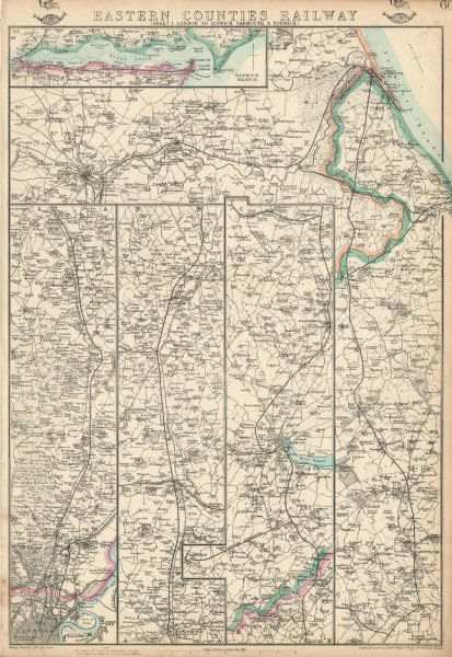 Associate Product EASTERN COUNTIES RAILWAY 1.London to Ipswich Yarmouth & Norwich.WELLER 1863 map