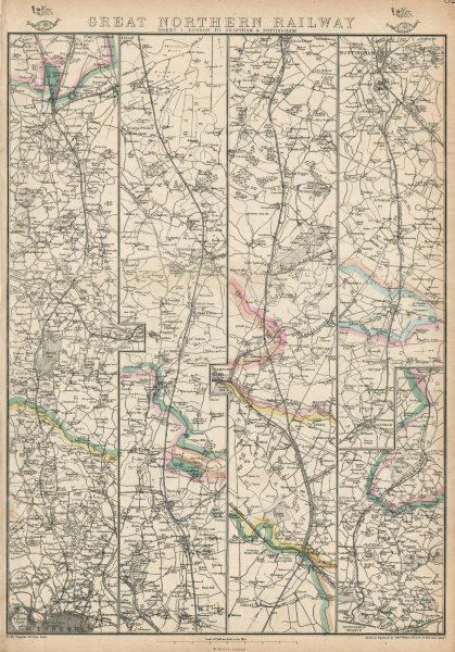 Associate Product GREAT NORTHERN RAILWAY 1. London to Grantham & Nottingham. WELLER 1863 old map