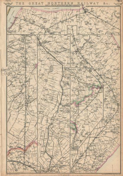 Associate Product GREAT NORTHERN RAILWAY 3. Loop/Lincolnshire line. Peterborough. WELLER 1863 map