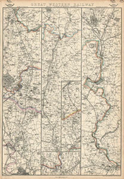 Associate Product GREAT WESTERN RAILWAY 1. London to Windsor, Reading & Oxford. WELLER 1863 map