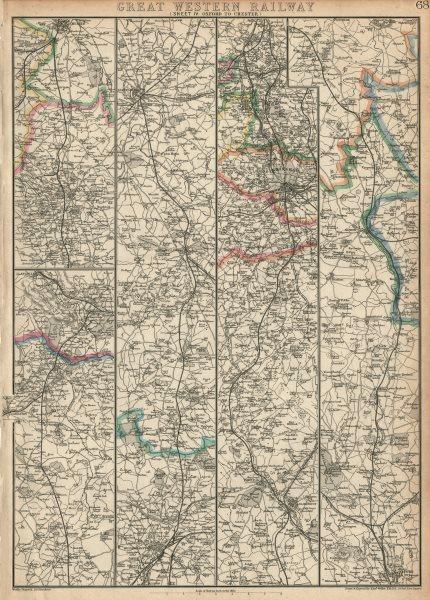 Associate Product GREAT WESTERN RAILWAY 4. Oxford to Warwick Birmingham & Chester.WELLER 1863 map