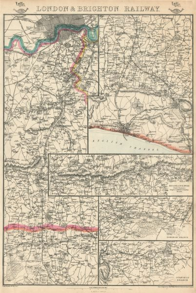Associate Product LONDON & BRIGHTON RAILWAY. Reigate Guildford Horsham Uckfield. WELLER 1863 map