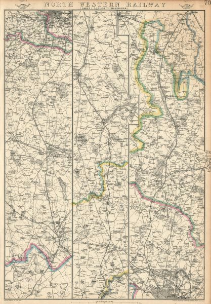 Associate Product NORTH WESTERN RAILWAY 1. London to Rugby, Coventry & Birmingham.WELLER 1863 map