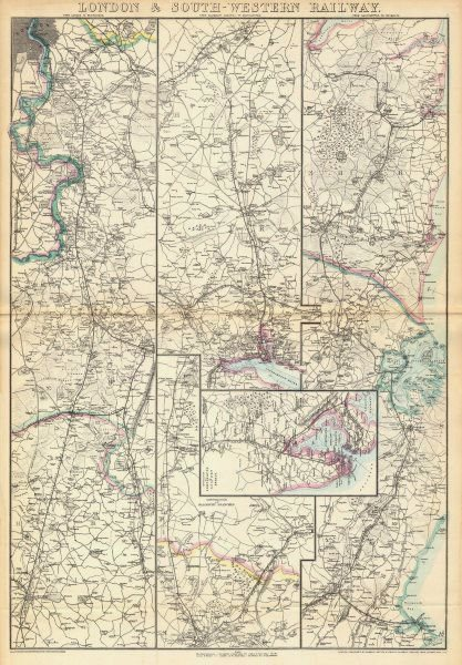 Associate Product LONDON & SOUTH-WESTERN RAILWAY. Portsmouth Southampton Weymouth.WELLER 1863 map
