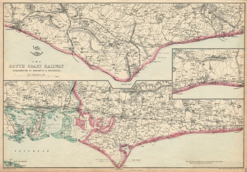Associate Product THE SOUTH COAST RAILWAY. Portsmouth to Brighton & Hastings. WELLER 1863 map
