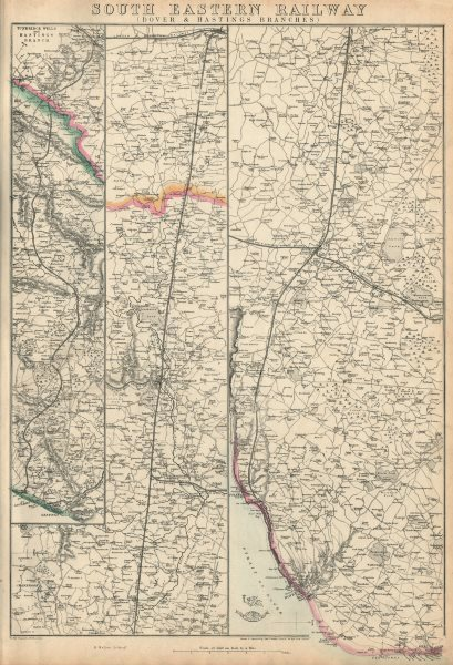 Associate Product SOUTH EASTERN RAILWAY. Dover & Hastings Branches. Tunbridge. WELLER 1863 map