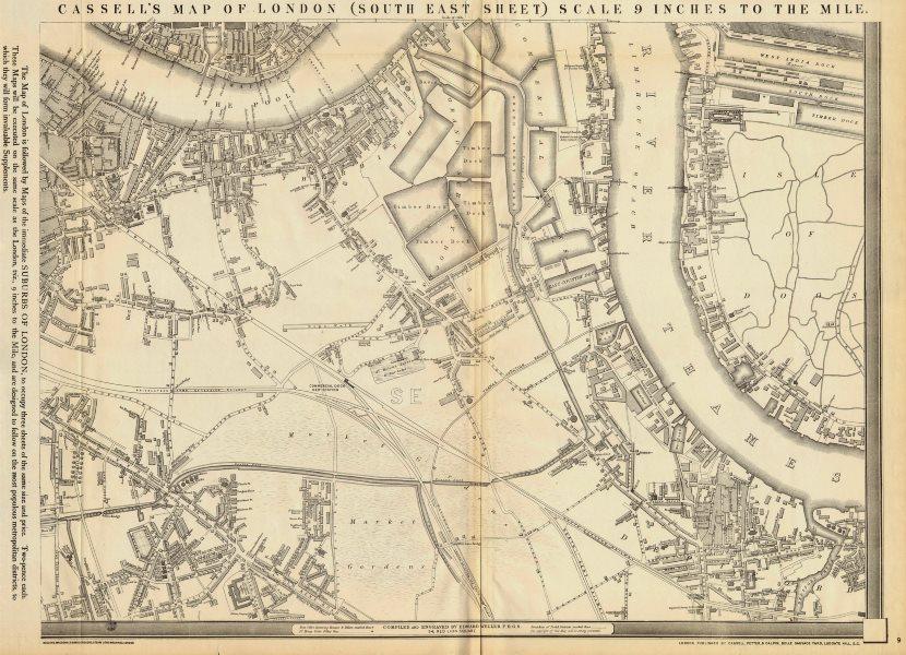 Associate Product 'CASSELLS LONDON SE. Rotherhithe Bermondsey Deptford Peckham. WELLER 1863 map