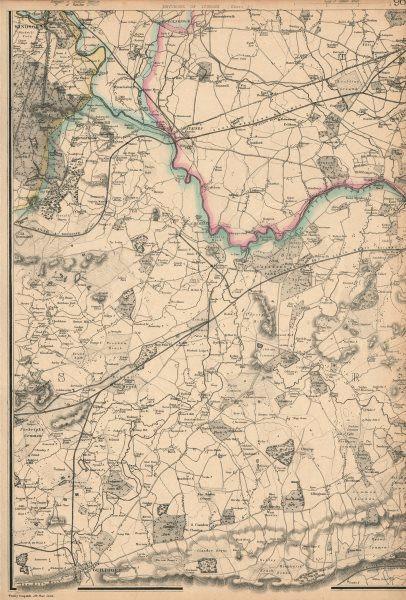 Associate Product N SURREY/THAMES VALLEY. Windsor Chertsey Weybridge Guildford. WELLER 1863 map