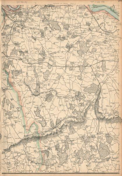 Associate Product NW KENT/S LONDON. Greenwich Dartford Sevenoaks Bromley. WELLER 1863 old map