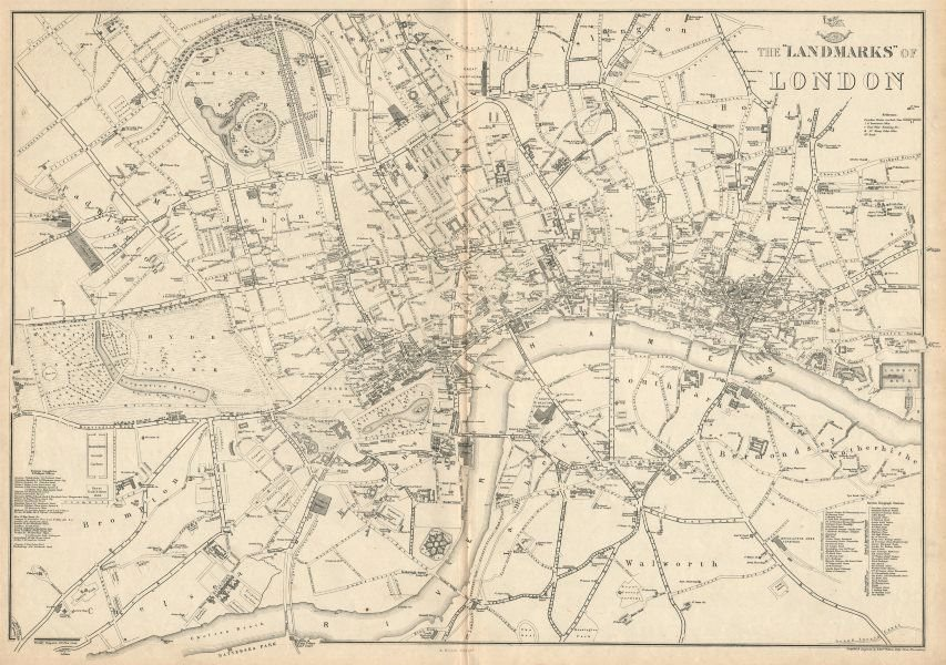 Map Of Landmarks In London.Details About Landmarks Of London Clubs Theatres Churches Public Buildings Weller 1863 Map