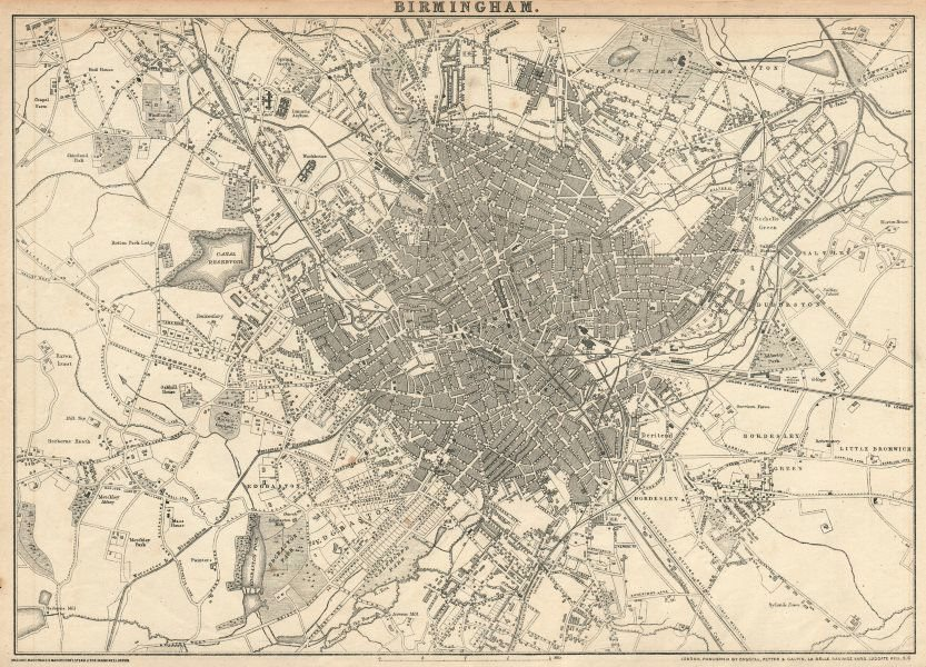 Associate Product BIRMINGHAM. Large town/city plan by JW LOWRY for the Dispatch Atlas 1863 map