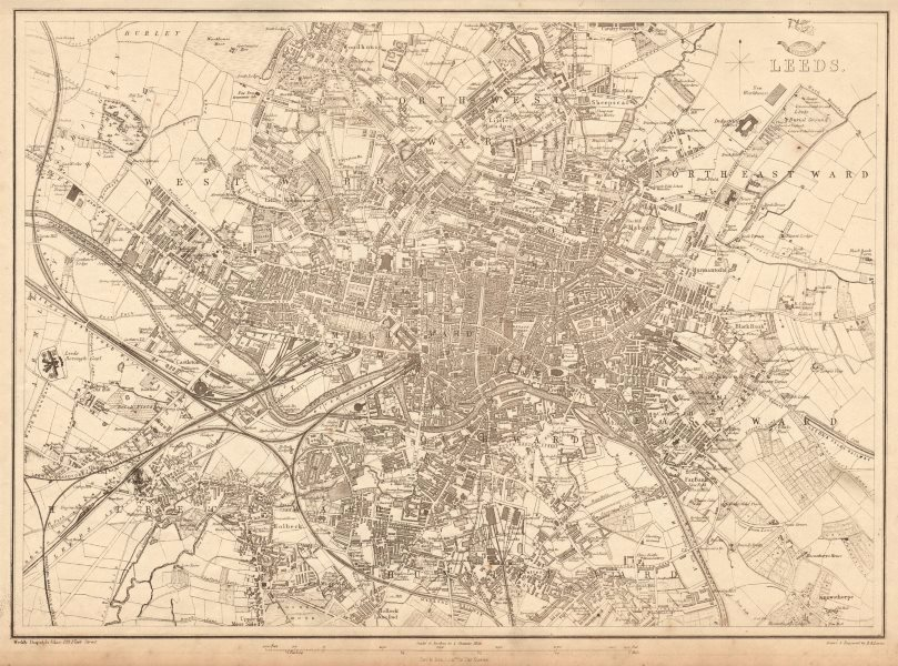 Associate Product LEEDS. Large town/city plan by BR DAVIES for the Dispatch Atlas 1863 old map