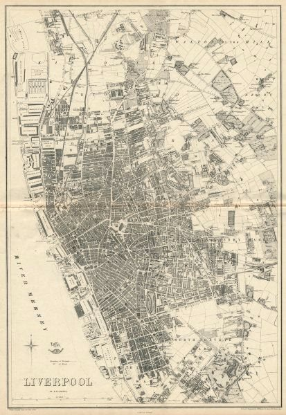 Associate Product LIVERPOOL. Large town/city plan by BR DAVIES for the Dispatch Atlas 1863 map
