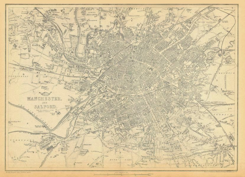 Associate Product MANCHESTER & SALFORD. Large town/city plan by BR DAVIES.Dispatch Atlas 1863 map