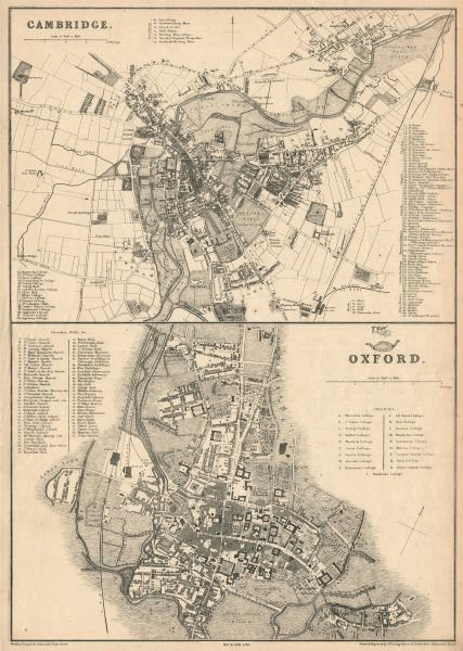 Associate Product OXFORD & CAMBRIDGE. Town/city plan by JW LOWRY for the Dispatch Atlas 1863 map