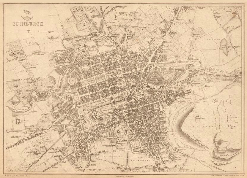 Associate Product EDINBURGH. Large town/city plan by BR DAVIES for the Dispatch Atlas 1863 map
