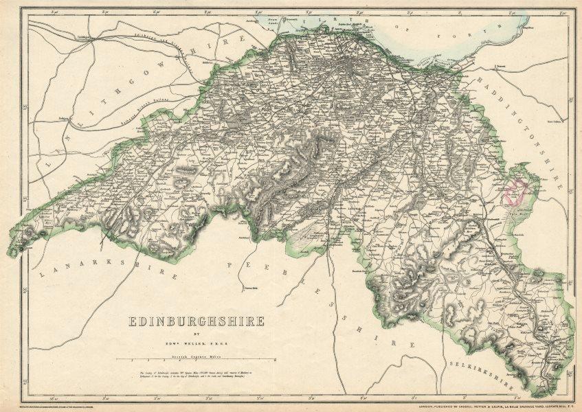 Associate Product 'Edinburghshire'. Midlothian. By EDWARD WELLER for the Dispatch Atlas 1863 map