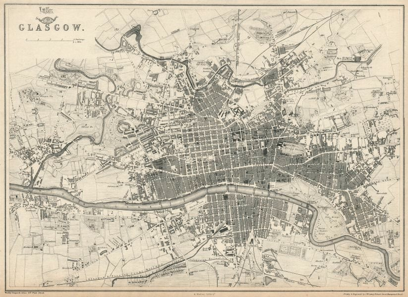 Associate Product GLASGOW. Large town/city plan by EDWARD WELLER for the Dispatch Atlas 1863 map