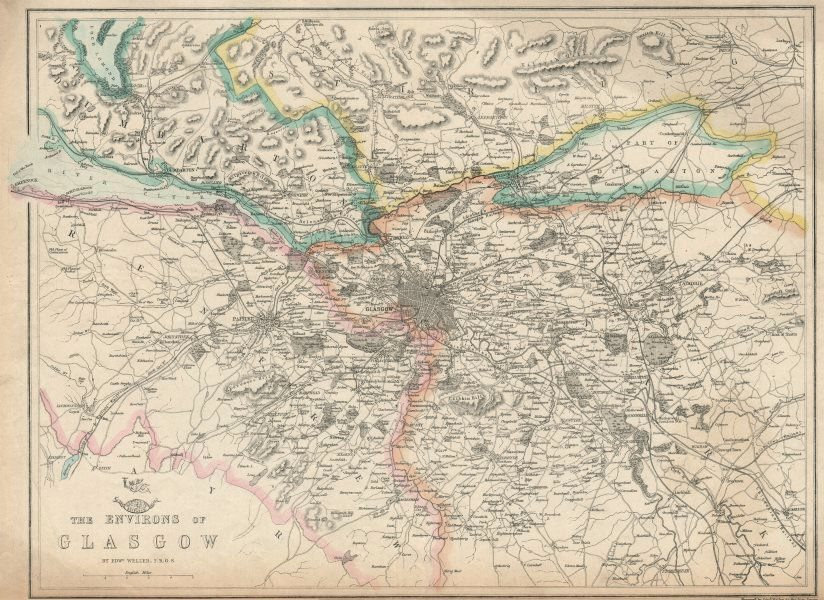 Associate Product GLASGOW & ENVIRONS. Paisley Dumbarton Airdrie. Scotland. WELLER 1863 old map