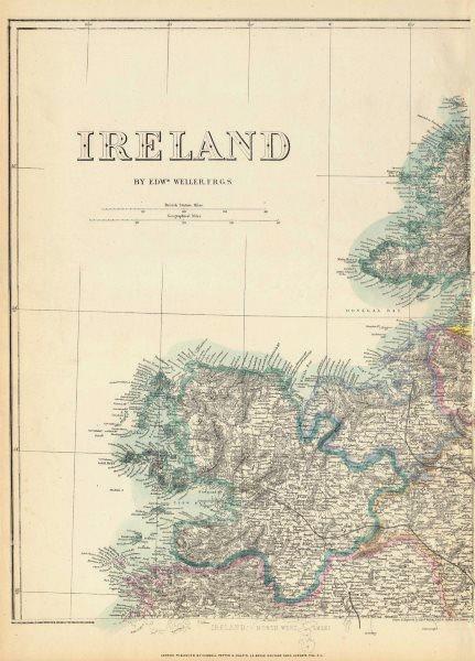 IRELAND NORTH WEST Mayo Sligo Donegal Connacht. WELLER. Dispatch atlas 1863 map