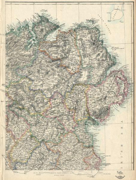 Associate Product IRELAND NORTH EAST. Ulster. Railways. EDWARD WELLER. Dispatch atlas 1863 map