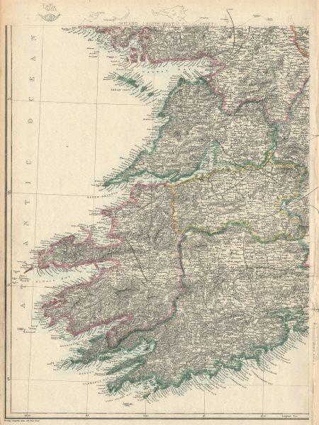Associate Product IRELAND SOUTH WEST. Munster Clare Limerick Kerry Cork. Railways.WELLER 1863 map