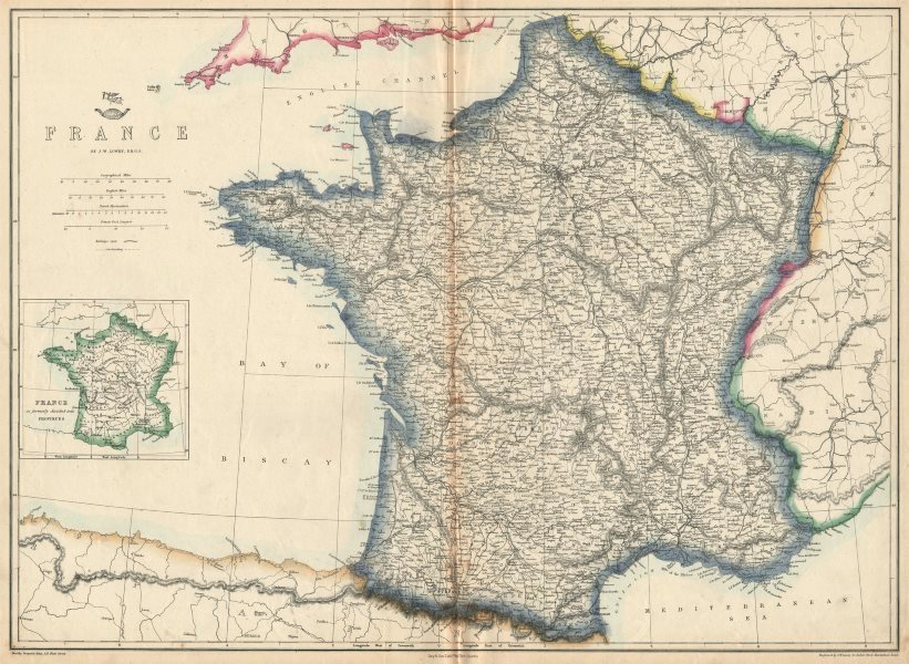 Associate Product FRANCE. Prior to the annexation of Savoie & Comte de Nice. JW LOWRY 1863 map