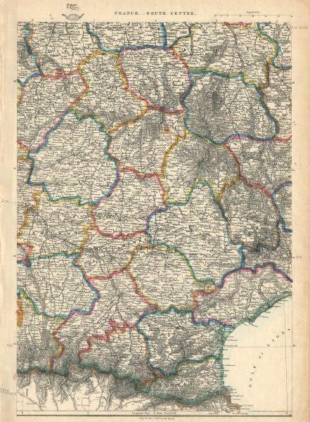 Associate Product FRANCE SOUTH CENTRE. Auvergne Limousin Pyrenees Languedoc. JW LOWRY 1863 map