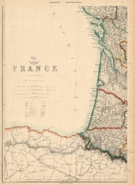 Associate Product FRANCE SOUTH WEST COAST. Charente Vendee Gironde Landes Pyrenees.LOWRY 1863 map