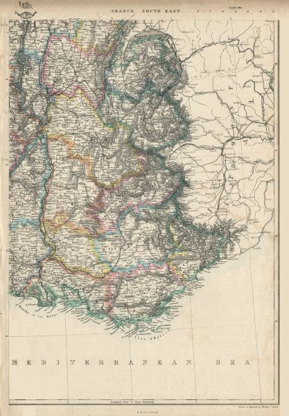 Associate Product FRANCE SOUTH EAST. Upon annexation of Savoie & Comte de Nice. JW LOWRY 1863 map